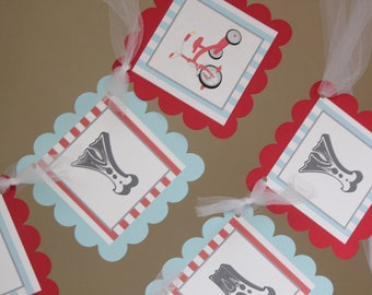 Vintage tricycle Happy Birthday banner-red tricycle party