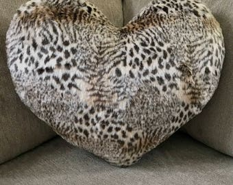"Jungle Fantasy leopard/tiger faux fur heart pillows. Half inch super soft fur in five sizes 11x13"", 13x15"", 15x17"", 17x19"",20x22"""