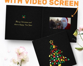 Black Christmas Card With Video Screen | Christmas Tree Card, Gold Foil Christmas Card, Video Greeting Card, Personalized Card 00032