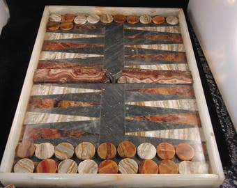 Backgammon game made out of stone