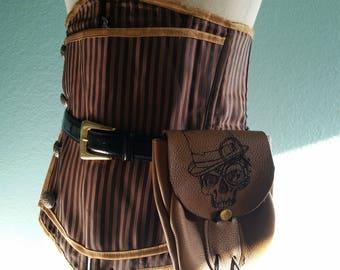 Gentleman Skull Steampunk Leather Hip Bag