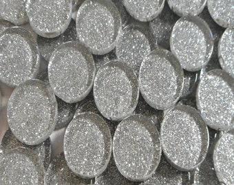 Silver 20mm Glitter Round Tiles