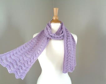 Hand Knit Scarf, Lavender Purple, Baby Alpaca, Scallop Lace, Light Weight Lacy Wrap Scarf, Elegant Delicate Luxurious Natural Fiber