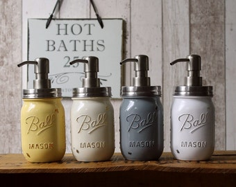 Shabby Chic Ball Mason Soap Dispenser Jar in choice of Vintage Colours with Rust proof Stainless Steel lid and Pump - *UK Seller*