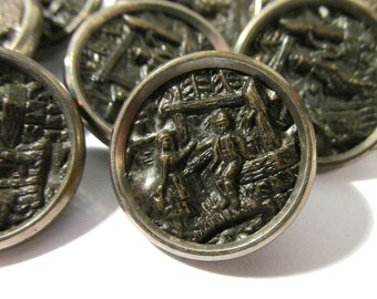 Victorian Buttons Antique Brass Victorian Buttons Mirror Rim Ten (10) Couple at Well Buttons Victorian Edwardian Jewelry Supplies (G133)