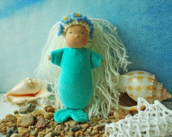 Waldorf doll Little mermaid Mermaid doll Pocket doll Rag doll Mermaid toy Steiner doll Baby mermaid Textile doll Mermaid Sea doll Sea gift