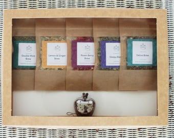 Tea Taster Selection Gift Box + Infuser teabelly Organic Artisan Herbal Tea Infusion Tisane