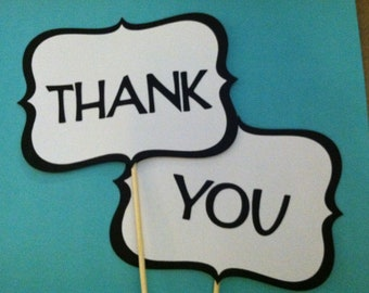 Wedding photo props, photo booth props, Thank You on a stick