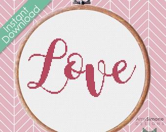 Love Valentines Day Typography Cross Stitch Pattern