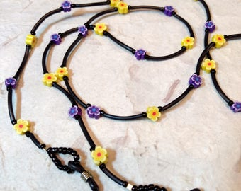 SALE: Pretty PURPLE & YELLOW Flowers Spring Fimo Polymer Clay and Glass Beads Eyeglass Chain