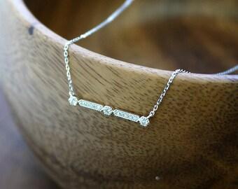 18K solid gold art deco  all-diamond diamond bar necklace