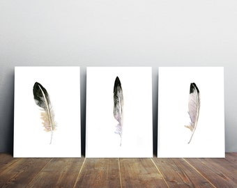 Feather Art - set of 3 Feather watercolor paintings -  purple lilac black wall art - feather decor - feather prints - feathers poster