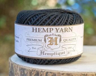 Wool Yarn, Black Hemp Cotton Blend,  Natural  Yarn, Knitting Wool, Black Wool