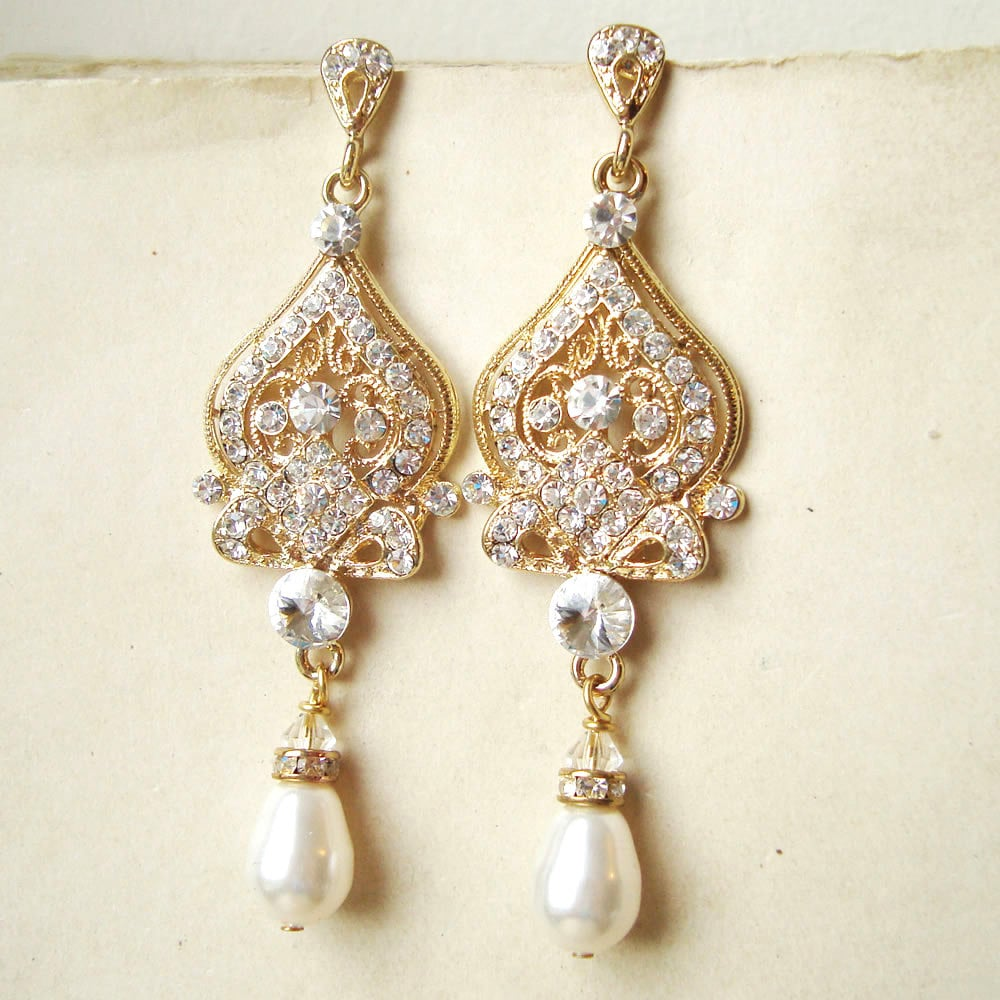 Gold bridal earrings gold chandelier wedding earrings gold zoom arubaitofo Gallery