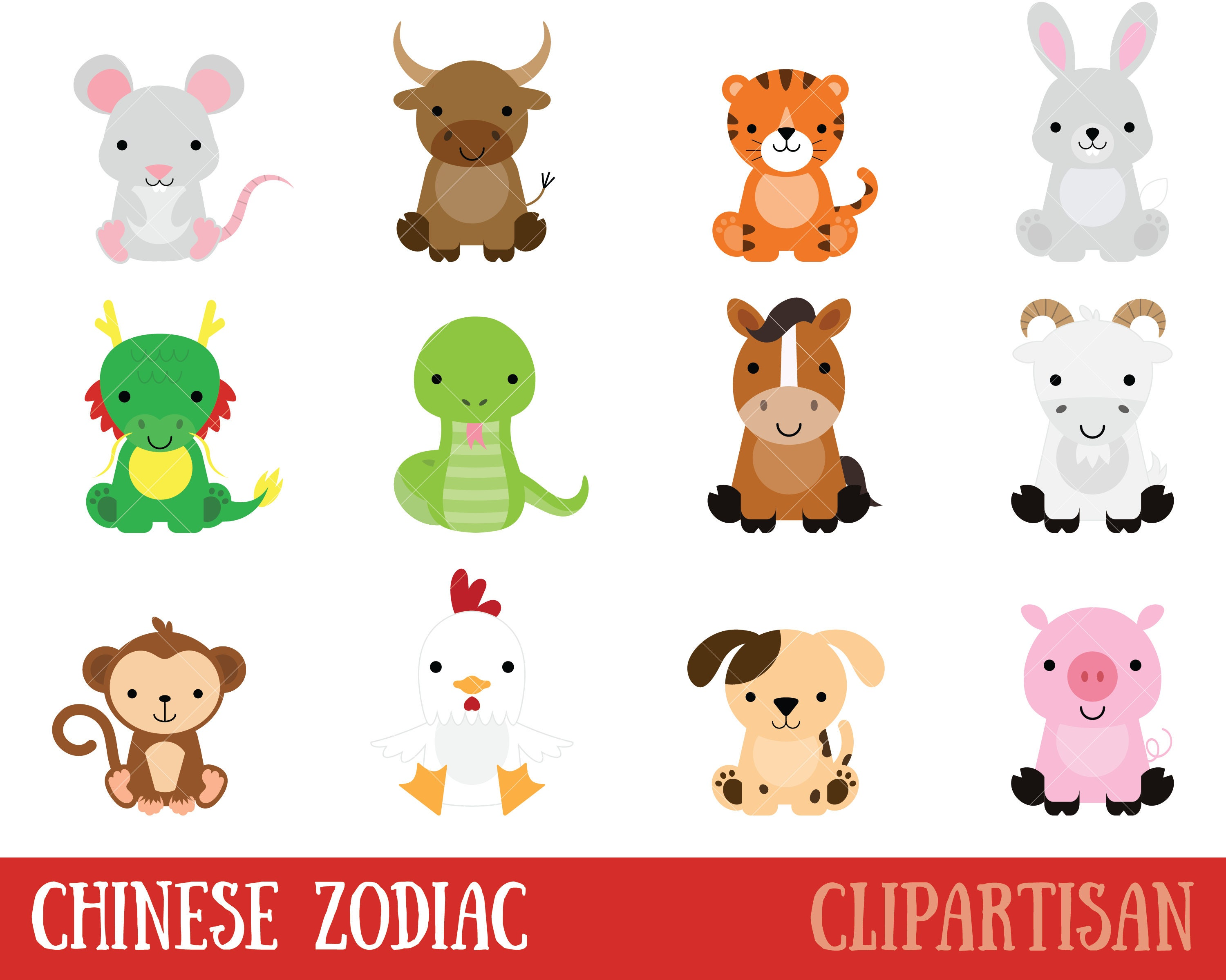 chinese zodiac animals clipart chinese new year clip art rh etsy com zodiac clipart black and white zodiac clipart