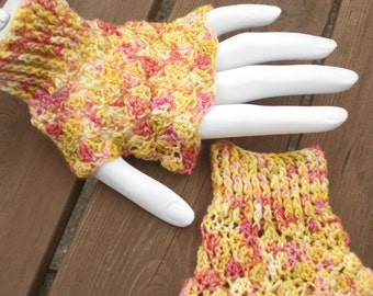 Hand Crochet  Wrist Warmers In Hand Dyed Superwash Merino And Nylon Shells Pattern