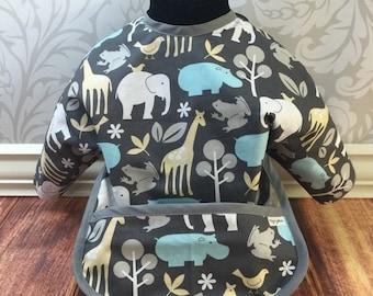 Zoo animals long sleeved bib, gender neutral bib, grey bib, sleeved bib, toddler bib, sleeves, pocket bib, bapron, smash cake bib,