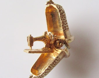 Large Gold Thimble and Sewing Machine Opening Charm