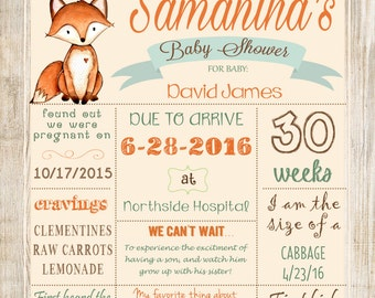Fox Woodland Baby Shower Poster/sign, Rustic Style Poster DIGITAL FILE