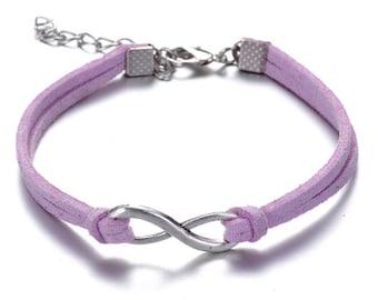 Beautiful infinity bracelet purple mixed cord