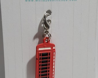 London Phone Booth Progress Keeper - Stitch Marker - 16mm silver lobster clasp finding - PK0051