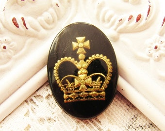 Vintage Gold and Black Crown Intaglio Cameo Cabochons 25x18mm Glass Oval - 1