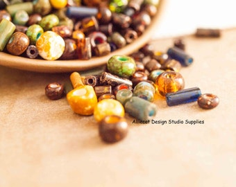 30gm Fancy Stone Picasso Mix Czech Glass Beads (SB052)