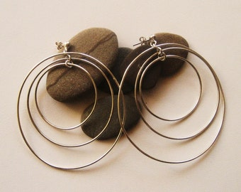 Silver hoops,Three dimension hoops, Sterling silver hoops