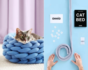 DIY Kit – Ohhio Braid Cat Bed. 18 inches in diameter. 4 colors available.