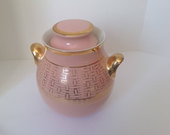 Hall Big Ear Cookie Jar, Retro Pink and Gold Snack Holder, Pink Kitchen Decor, Basket Weave Pattern, Treat Holder