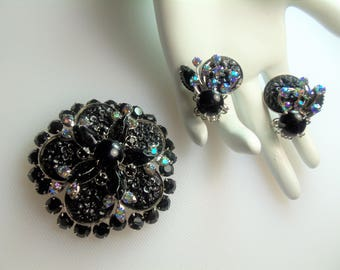 Vintage Silver Tone Prong Set Black & Aurora Borealis Rhinestones w/ Molded Texture Black Stones Pin Brooch and Matching Clip Earrings Set