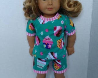 """18"""" doll pajamas made to fit like American girl doll clothes, cupcake pajamas, cute pajamas for dolls such as American girl and others"""