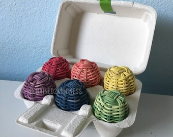 Woven eggs mini eggs 6 pack. Hand Woven & Hand Dyed Decorative Eggs : Authentic Native American Made. Easter egg decorative baskets