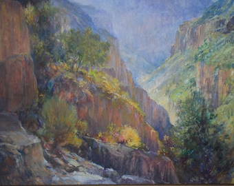 Oil Painting Southwest canyon M. Rapp fall american west