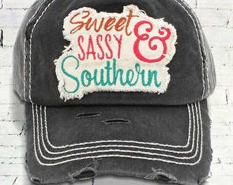 Sweet Sassy & Southern Distressed Trucker Hat - Black