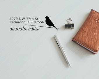 Return Address Stamp, Personalized Address House Stamp, Family Address Bird Stamp, New Address Mailing Stamp - CA752