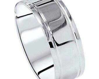 950 Palladium 8MM Mens Flat High Polished Wedding Band Ring Size (4-12)