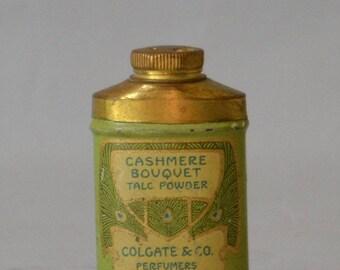 Vintage Miniature Colgate Talc Powder Tin