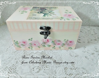 The Modern Priscilla Graphic and Roses on a Wood Keepsake Storage Box, Hand Painted, Spring Compliment, Gift, Collectible, Cottage Decor ECS