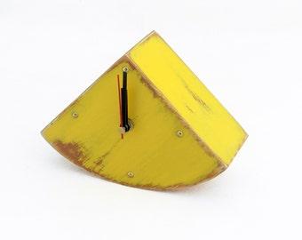 Wood Desk Yellow Clock, Table Clock Handmade  Wooden Clock, Gold points Sun clock, Yellow decor