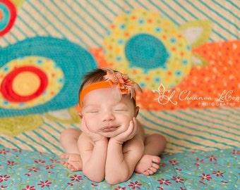 Orange Baby Headband, Baby Headband, Feathers Newborn Headband, Feather Headband, Newborn Headband, Glitter Baby Headband, Autumn Headband