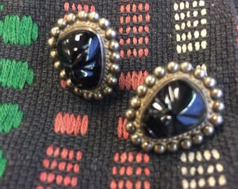 Mid-century Mexican Taxco silver and obsideon Mask Earrings.