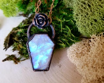 Copper Electroformed Moonstone Coffin Crowned with a Rose | Gemstone Necklace | Copper Electroformed | Rainbow Moonstone Gemstone