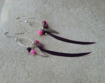 Earrings feather purple beads and pendants