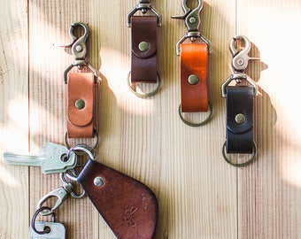 Leather key chain, leather key holder, gift for him, key fob, personalized key fob attachable to belt loop, leather key organizer, veg tan