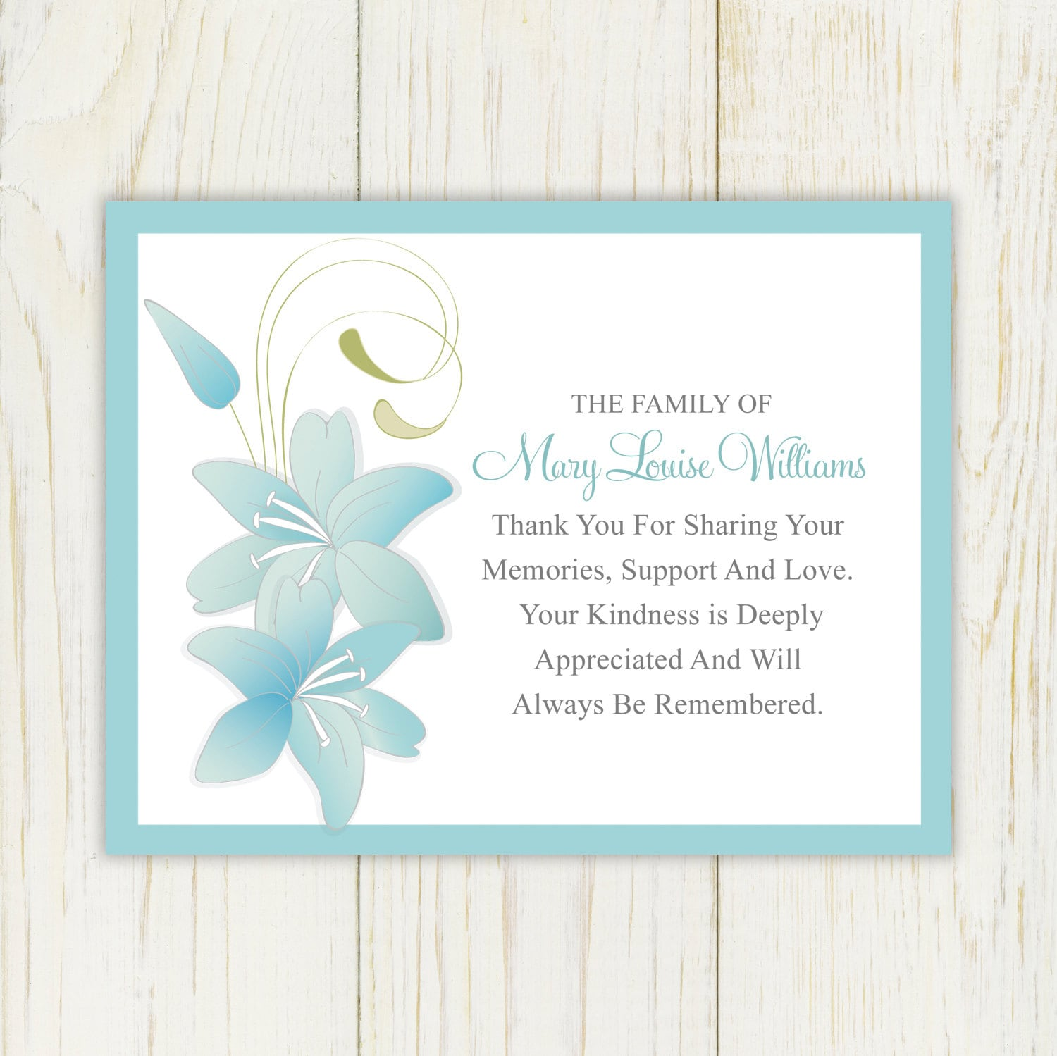 Lily funeral thank you card printable digital file sympathy zoom expocarfo Images