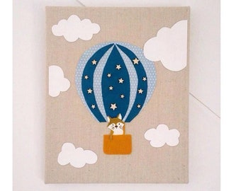 """""""Tower of hot air balloon"""" canvas for the nursery, baby frame, decor baby room"""