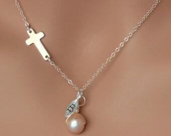 Cross Necklace Woman - Sideways Cross Necklace - Silver Cross Initial Necklace - Cross Necklace Sterling Silver - Initial necklace - Baptism
