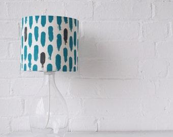 Lamp shade: Small brushstrokes drum lampshade blue/grey // Screen printed handmade lampshade in natural linen fabric