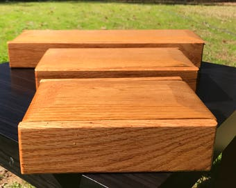 Handmade wooden oak keepsake box with sliding top